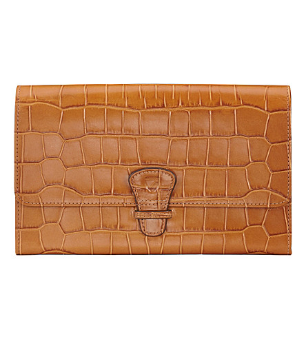 ASPINAL OF LONDON Classic croc-embossed leather travel wallet (Tan