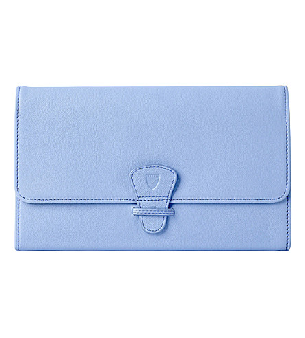 ASPINAL OF LONDON Classic leather travel wallet (Misty+blue