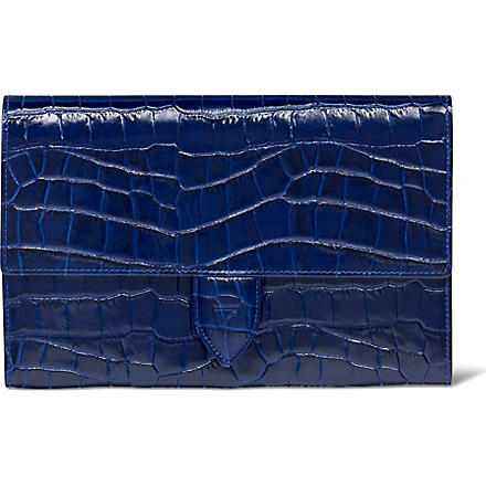 ASPINAL OF LONDON Mock crocodile deluxe travel wallet (Navy croc & cream suede