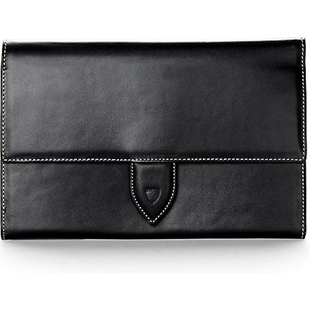 ASPINAL OF LONDON Deluxe leather travel wallet (Black & cobalt