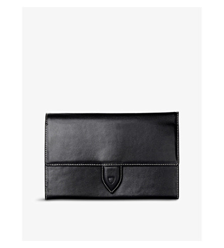 ASPINAL OF LONDON Deluxe leather travel wallet (Black