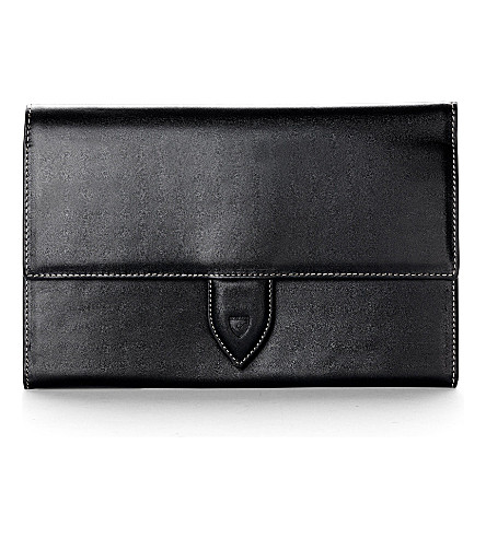 ASPINAL OF LONDON Deluxe leather travel wallet (Smooth black&cobalt