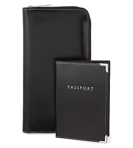 ASPINAL OF LONDON Zipped travel wallet and passport holder (Black
