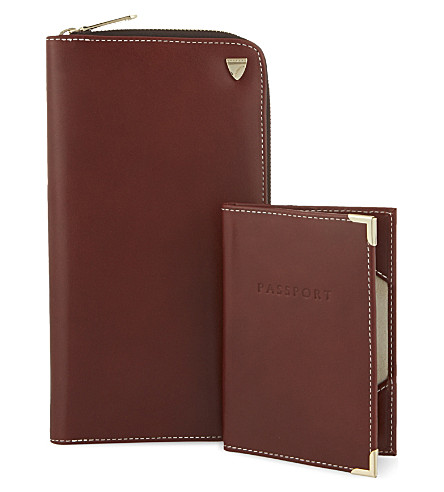 ASPINAL OF LONDON Zipped leather travel wallet and passport holder (Cognac