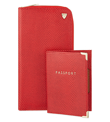 ASPINAL OF LONDON 拉链旅行钱包和护照盖子 (莓果