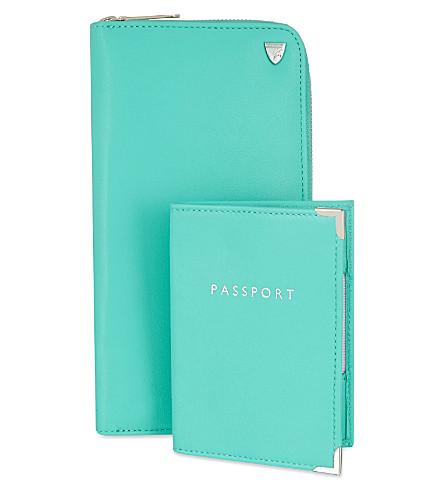 ASPINAL OF LONDON Zipped travel wallet & passport set (Aqua