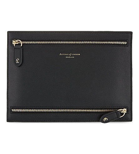 ASPINAL OF LONDON Multi currency leather wallet (Black