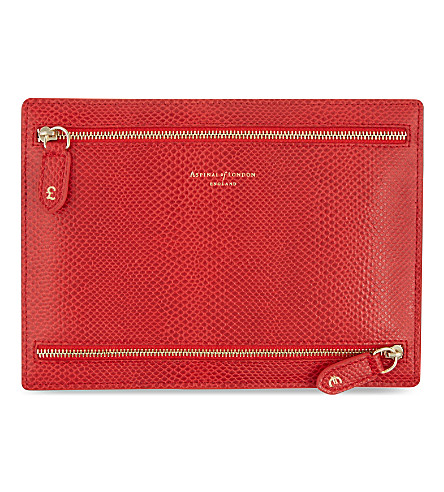 ASPINAL OF LONDON Multi currency leather wallet (Berry