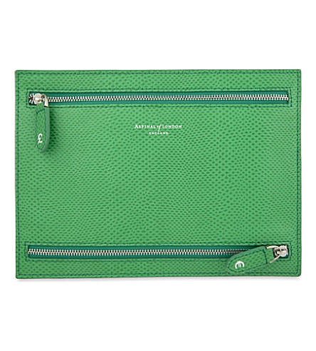 ASPINAL OF LONDON Multi-currency leather wallet (Green