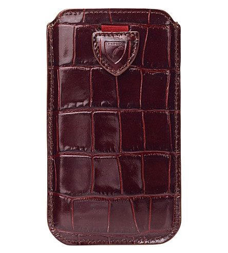 ASPINAL OF LONDON Mock-croc leather samsung Galaxy S6 case (Amazon+brown