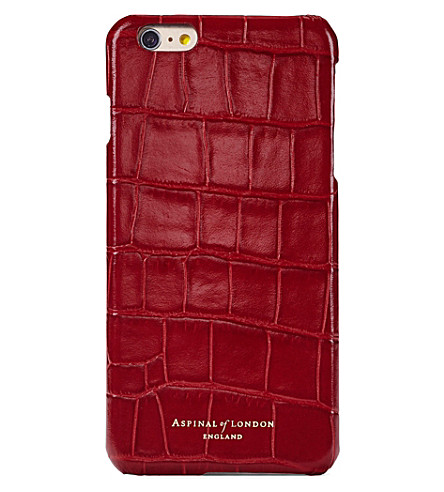 ASPINAL OF LONDON Crocodile-embossed leather iPhone 7 case (Red
