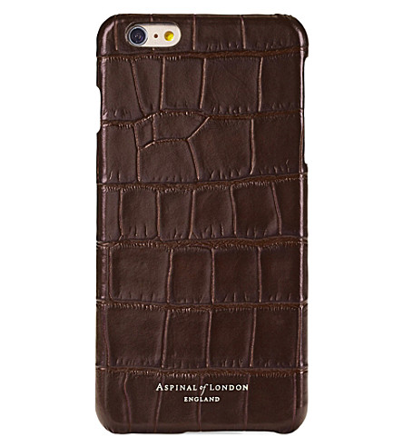 ASPINAL OF LONDON iPhone 7+ crocodile-embossed leather cover case (Amazon+brown