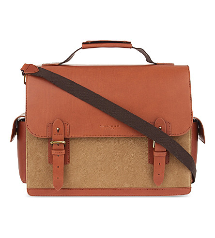 ASPINAL OF LONDON Shadow convertible leather briefcase (Fog/tan
