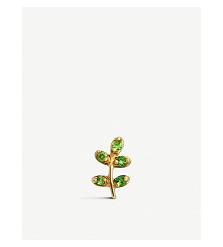 LOQUET Olive Branch 18ct yellow-gold and tsavorite charm (Yellow+gold