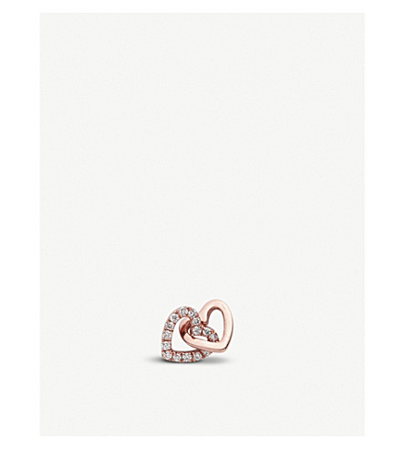 LOQUET Always Together interlinking-hearts 18ct rose-gold and diamond charm (Rose+gold
