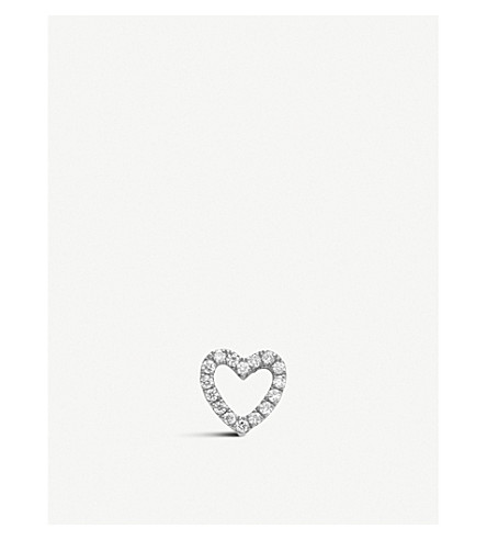 LOQUET Diamond Heart 18ct white-gold and diamond charm (White+gold