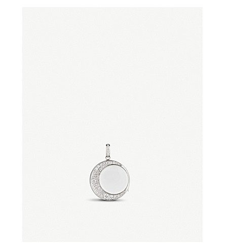 LOQUET Crescent moon 18ct white-gold and 1.3ct diamond locket (White+gold
