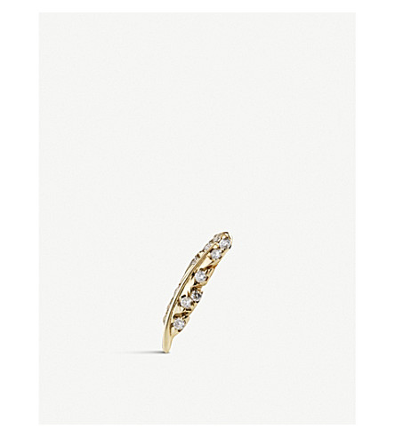 LOQUET Feather-shaped 18ct yellow-gold and diamond charm (Yellow+gold