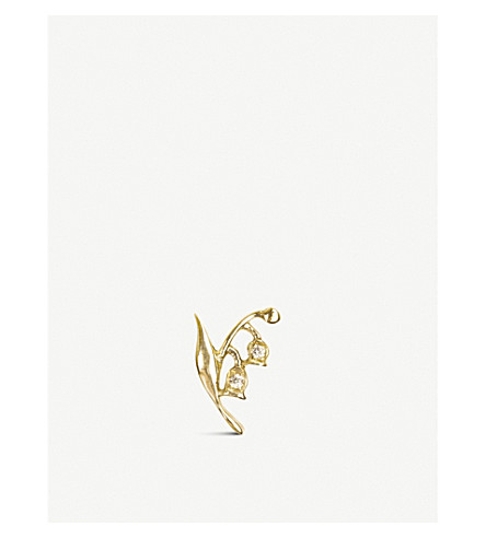 LOQUET Lily of the Valley 18ct yellow-gold and diamond charm (Yellow+gold