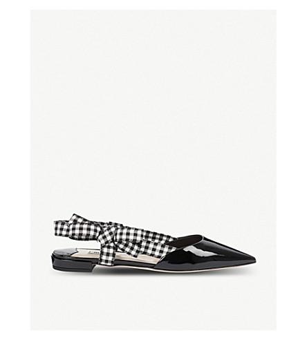 MIU MIU Patent-leather slingback pointed-toe flats (Nero