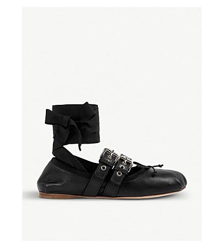 MIU MIU Buckled leather ballerina flats (Nero