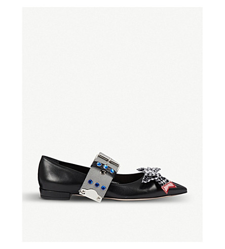 MIU MIU Buckled crystal-embellished leather pointed-toe flats (Nero+ardesia