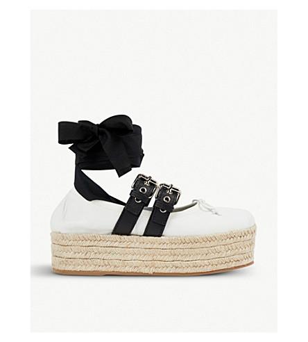 MIU MIU Buckled leather espadrille flatforms (Bianco+nero