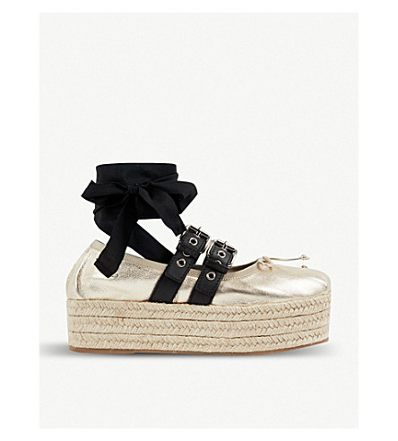 MIU MIU Buckled metallic leather espadrille flatforms (Pirite+nero
