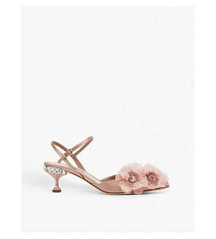 MIU MIU Crystal-embellished flower-detail pointed-toe satin pumps (Nudo
