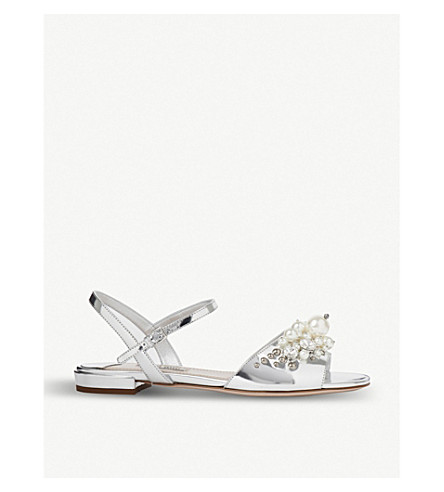 MIU MIU Embellished mirrored leather sandals (Argento
