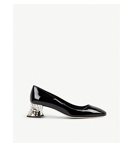 MIU MIU Crystal-embellished patent-leather pumps (Nero