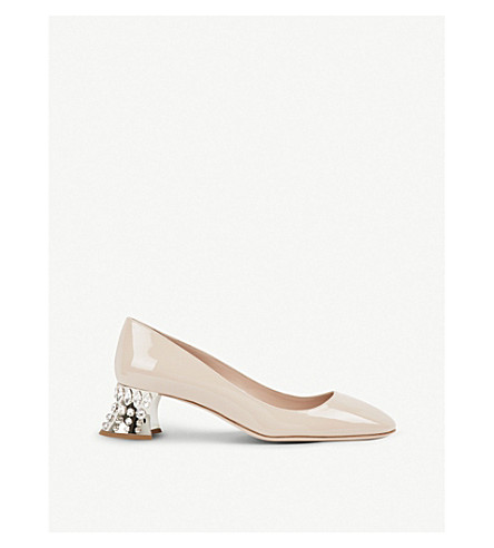 MIU MIU Crystal-embellished patent-leather pumps (Cipria