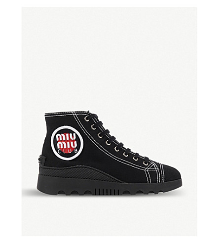 MIU MIU Logo-appliqué gabardine high-top trainers (Nero