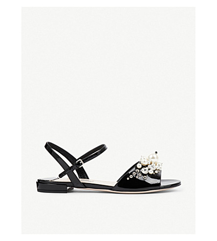 MIU MIU Crystal and faux peal-embellished patent-leather sandals (Nero