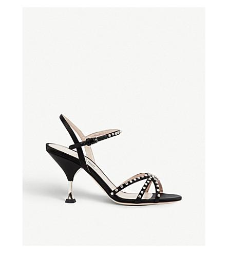 MIU MIU Crystal-embellished satin sandals (Nero