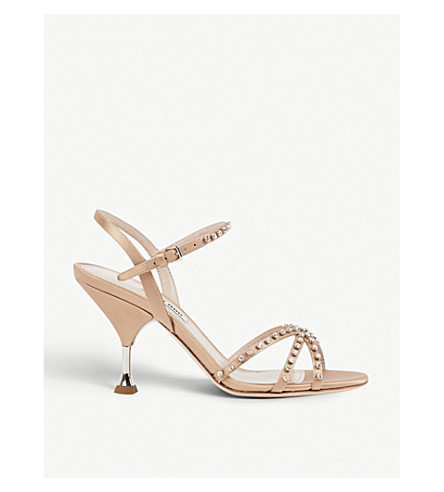 MIU MIU Crystal-embellished satin sandals (Naturale