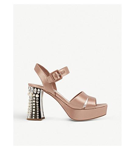 MIU MIU Crystal-embellished satin sandals (Nudo