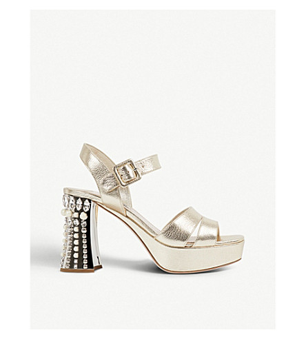 MIU MIU Crystal-embellished textured-leather sandals (Pirite