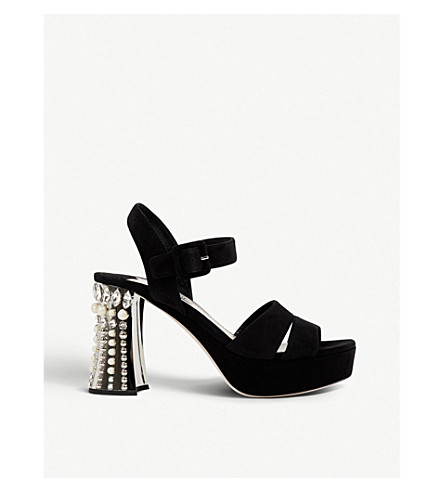 MIU MIU Crystal-embellished suede sandals (Nero