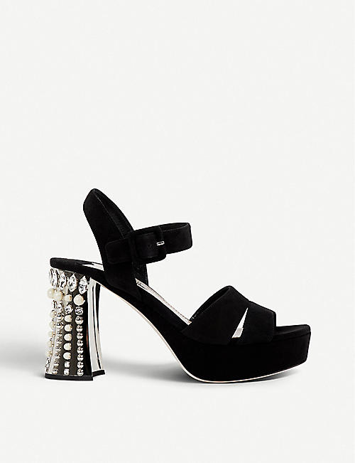 Sandals for Women On Sale in Outlet, White, Patent Leather, 2017, 2.5 Miu Miu