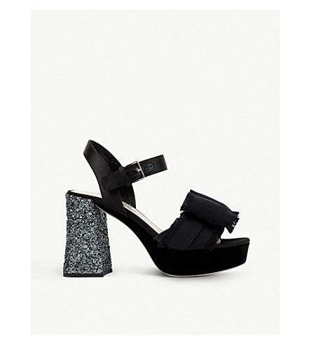 MIU MIU Bow appliqué velvet sandals (Nero