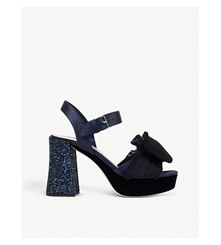 MIU MIU Bow appliqué velvet sandals (Baltico