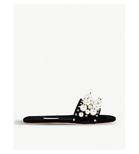 MIU MIU Faux pearl-detailed velvet sliders (Nero