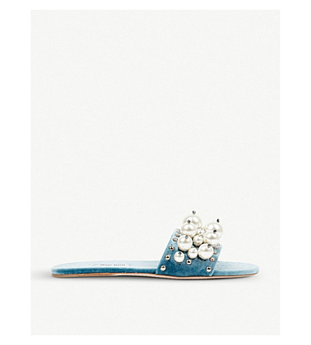 MIU MIU Faux pearl-detailed velvet sliders (Azzuro
