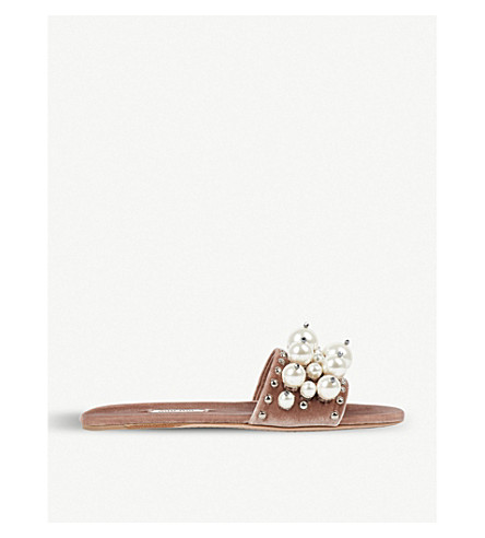 MIU MIU Faux pearl-detailed velvet sliders (Cammeo