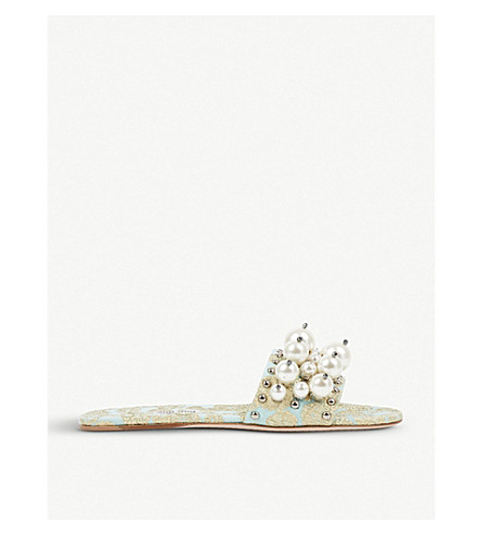 MIU MIU Faux-pearl detailed cloqué jacquard sliders (Clorofilla