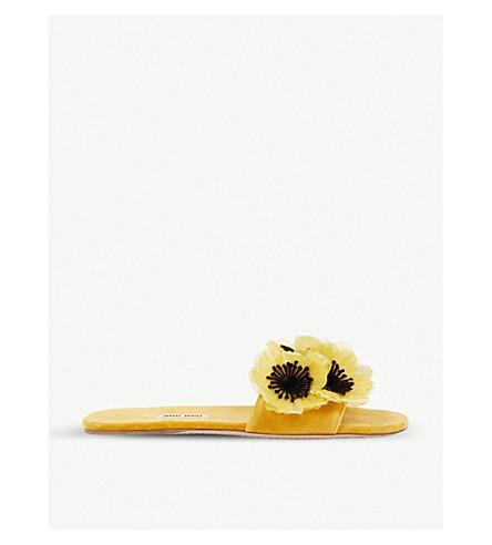 MIU MIU Flower-embellished velvet sliders (Ocra