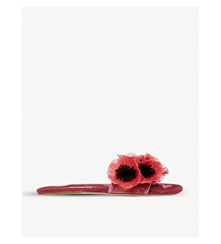 MIU MIU Flower-embellished velvet sliders (Peonia