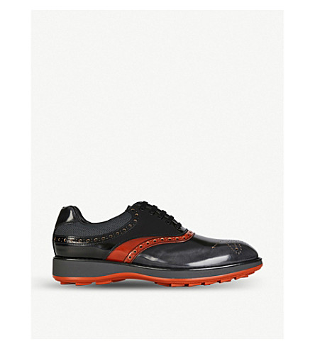 PRADA Mesh-detail leather Oxford brogues (Asfalto