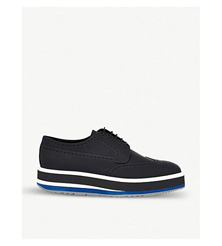 PRADA Platform leather Derby shoes (Nero+baltico
